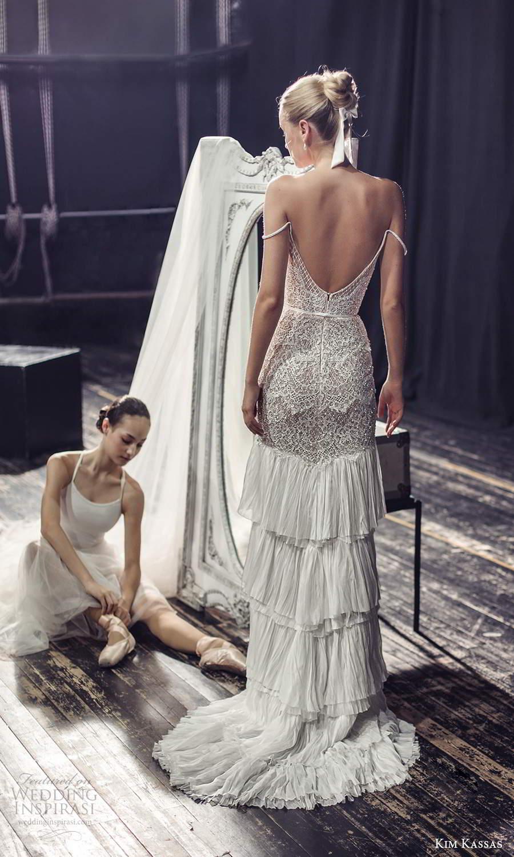 kim kassas fall 2021 bridal off shoulder straps plunging v neckline embellished column wedding dress tiered skirt sweep train (9) bv