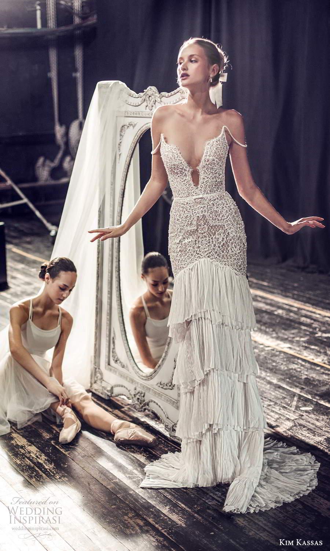 kim kassas fall 2021 bridal off shoulder straps plunging v neckline embellished column wedding dress tiered skirt sweep train (9) mv