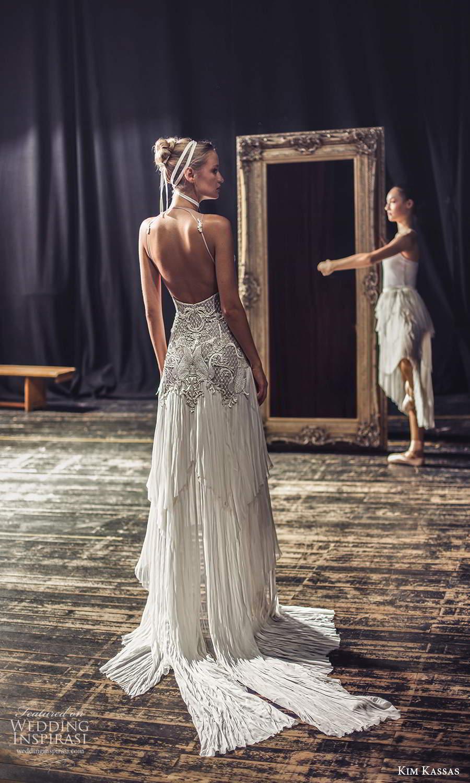 kim kassas fall 2021 bridal sleeveless high neckline heavile embellished bodice column wedding dress chapel train open back (1) bv