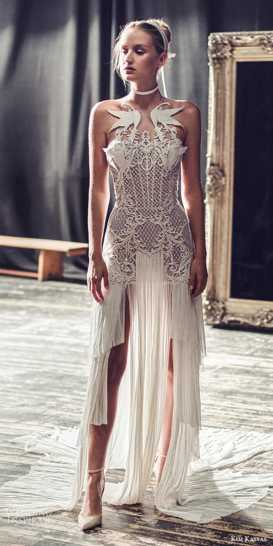 kim kassas fall 2021 bridal sleeveless high neckline heavile embellished bodice column wedding dress chapel train open back (1) mv