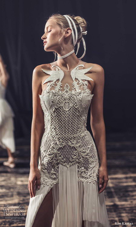 kim kassas fall 2021 bridal sleeveless high neckline heavile embellished bodice column wedding dress chapel train open back (1) zv