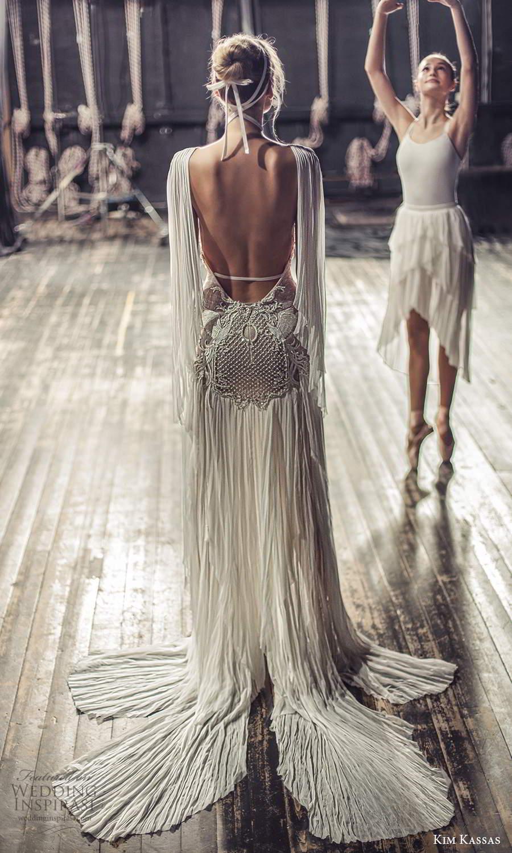 kim kassas fall 2021 bridal sleeveless plunging cutout neckline heavily embellished a line wedding dress chapel train (2) bv