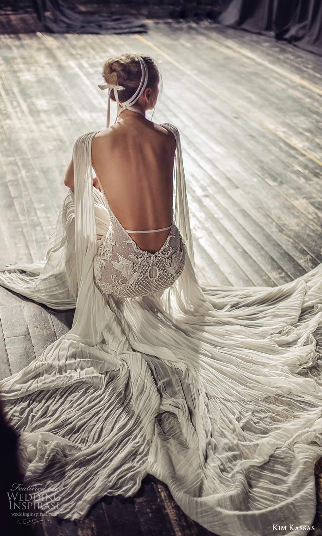 kim kassas fall 2021 bridal sleeveless plunging cutout neckline heavily embellished a line wedding dress chapel train (2) zbv