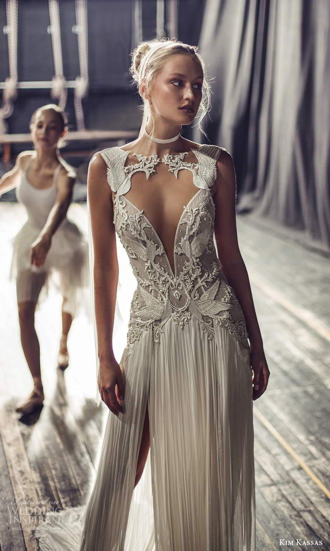 kim kassas fall 2021 bridal sleeveless plunging cutout neckline heavily embellished a line wedding dress chapel train (2) zv