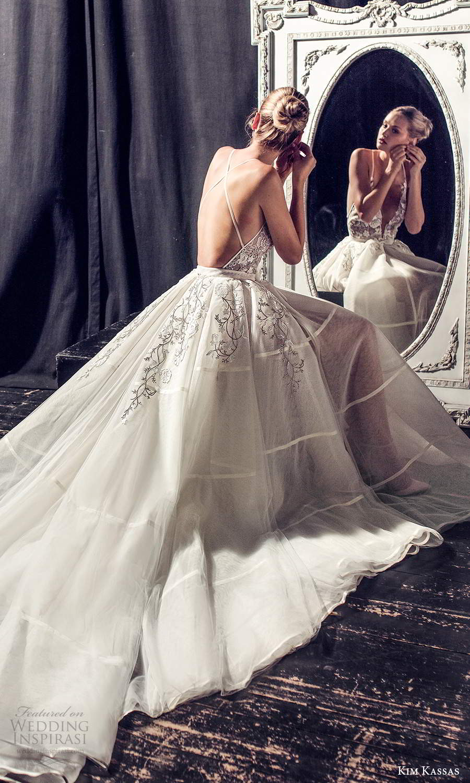 kim kassas fall 2021 bridal sleeveless thin straps plunging v neckline embellished bodice a line ball gown wedding dress chapel train (7) bv