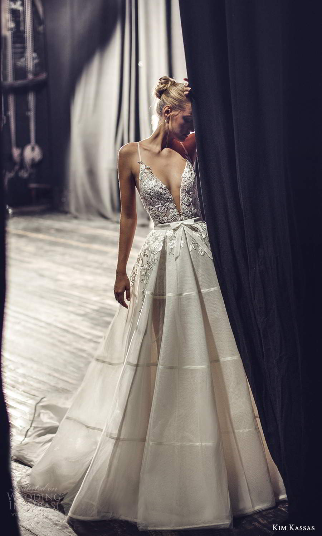 kim kassas fall 2021 bridal sleeveless thin straps plunging v neckline embellished bodice a line ball gown wedding dress chapel train (7) mv