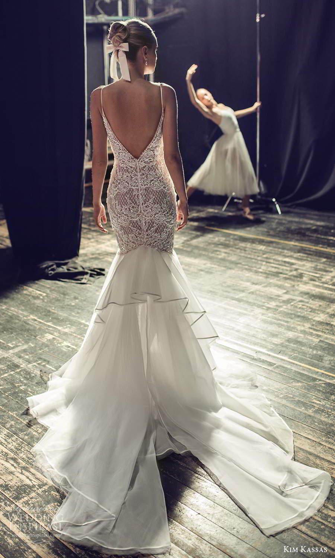 kim kassas fall 2021 bridal sleeveless thin straps plunging v neckline heavily embellished bodice fit flare mermaid wedding dress chapel train (6) bv