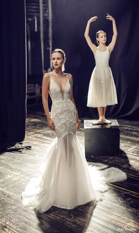 kim kassas fall 2021 bridal sleeveless thin straps plunging v neckline heavily embellished bodice fit flare mermaid wedding dress chapel train (6) mv