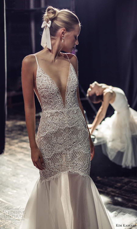 kim kassas fall 2021 bridal sleeveless thin straps plunging v neckline heavily embellished bodice fit flare mermaid wedding dress chapel train (6) zv