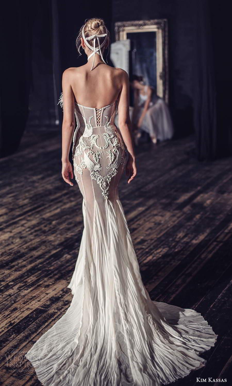 kim kassas fall 2021 bridal strapless crumbcatcher feather neckline embellished sheath wedding dress chapel train (8) bv