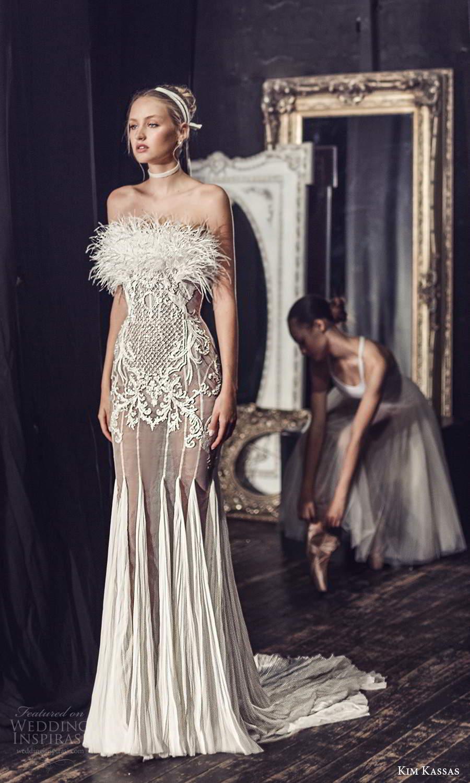 kim kassas fall 2021 bridal strapless crumbcatcher feather neckline embellished sheath wedding dress chapel train (8) mv