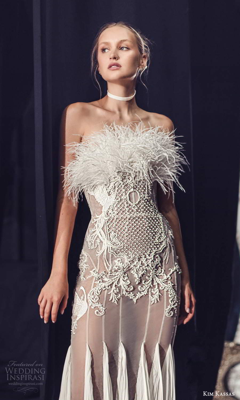 kim kassas fall 2021 bridal strapless crumbcatcher feather neckline embellished sheath wedding dress chapel train (8) zv