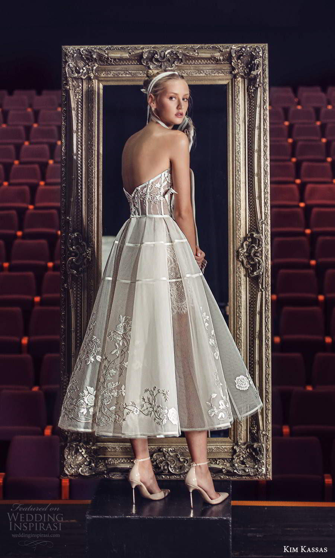 kim kassas fall 2021 bridal strapless scoop neckline embellished bodice a line ball gown tea length wedding dress (3) bv