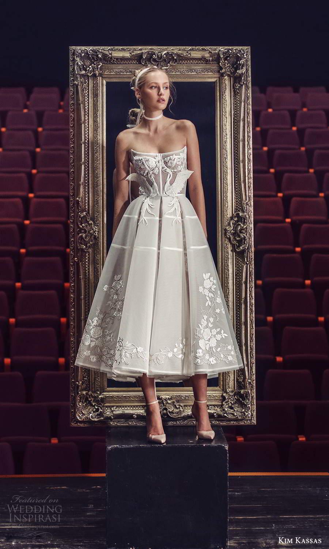 kim kassas fall 2021 bridal strapless scoop neckline embellished bodice a line ball gown tea length wedding dress (3) fv