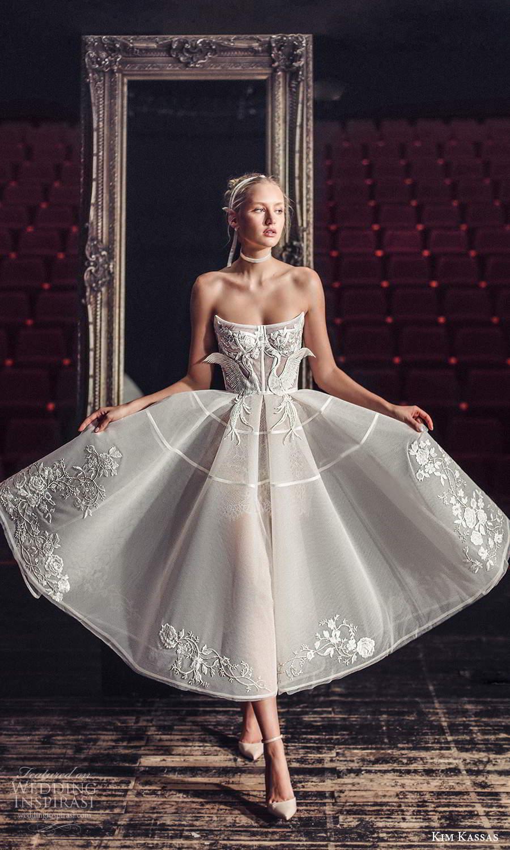 kim kassas fall 2021 bridal strapless scoop neckline embellished bodice a line ball gown tea length wedding dress (3) mv