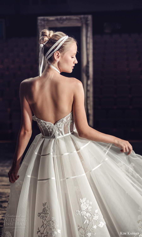 kim kassas fall 2021 bridal strapless scoop neckline embellished bodice a line ball gown tea length wedding dress (3) zbv