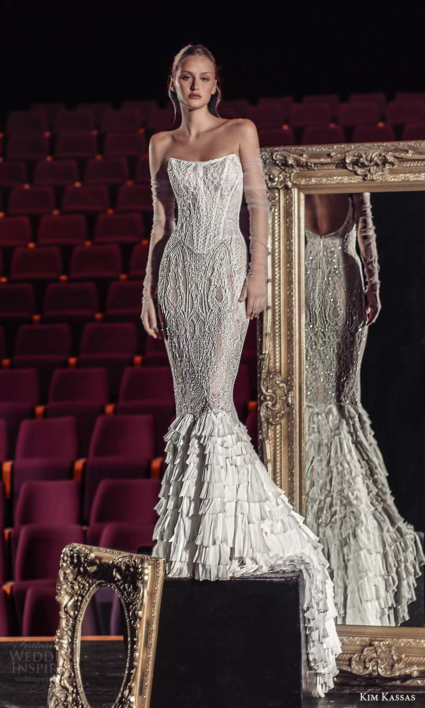 kim kassas fall 2021 bridal strapless scoop neckline fully embellished fit flare mermaid wedding dress chapel train (12) mv