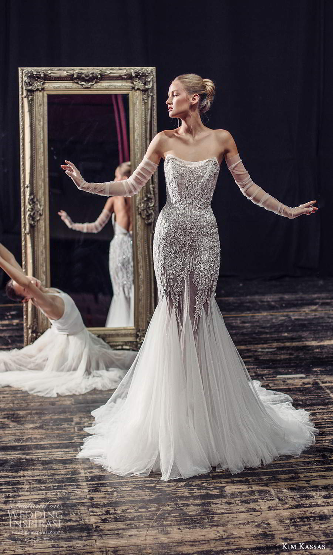 kim kassas fall 2021 bridal strapless scoop neckline heavily embellished fit flare mermaid wedding dress chapel train (11) mv