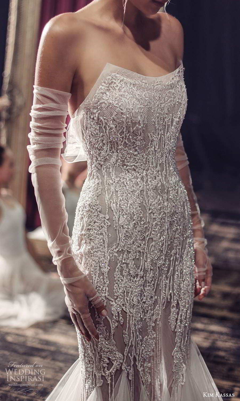 kim kassas fall 2021 bridal strapless scoop neckline heavily embellished fit flare mermaid wedding dress chapel train (11) zv