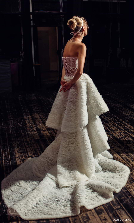 kim kassas fall 2021 bridal strapless semi sweetheart neckline fully embellished a line ball gown wedding dress tiered skirt chapel train (4) bv