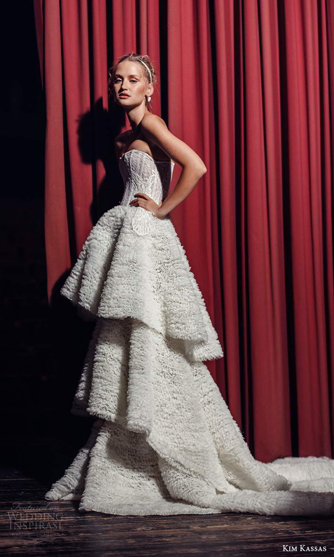 kim kassas fall 2021 bridal strapless semi sweetheart neckline fully embellished a line ball gown wedding dress tiered skirt chapel train (4) mv