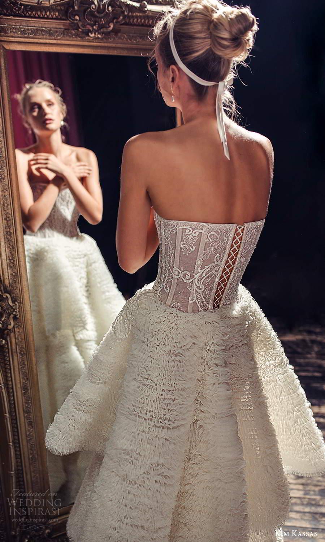 kim kassas fall 2021 bridal strapless semi sweetheart neckline fully embellished a line ball gown wedding dress tiered skirt chapel train (4) zbv