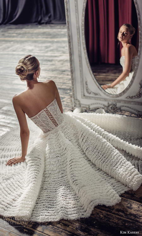 kim kassas fall 2021 bridal strapless semi sweetheart neckline fully embellished a line tea length wedding dress ruffle skirt (14) bv