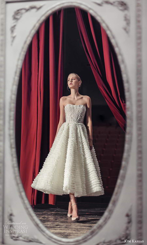 kim kassas fall 2021 bridal strapless semi sweetheart neckline fully embellished a line tea length wedding dress ruffle skirt (14) mv