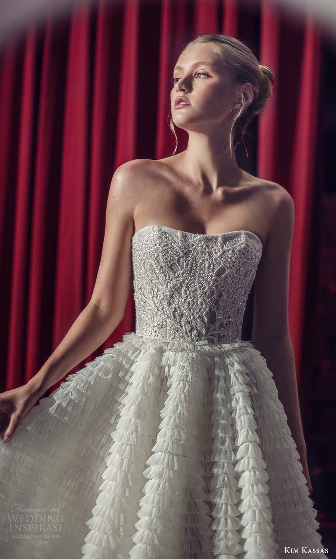 kim kassas fall 2021 bridal strapless semi sweetheart neckline fully embellished a line tea length wedding dress ruffle skirt (14) zv