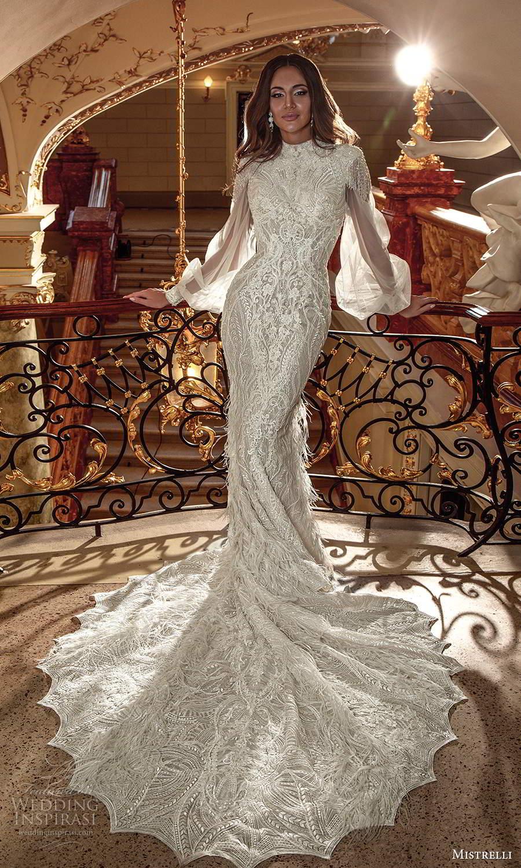 mistrelli 2021 innamorata bridal bishop sleeves high neckline fully embellished sheath wedding dress chapel train (12) mv