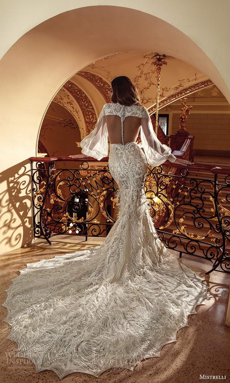 mistrelli 2021 innamorata bridal bishop sleeves high neckline fully embellished sheath wedding dress chapel train sheer back (12) mv