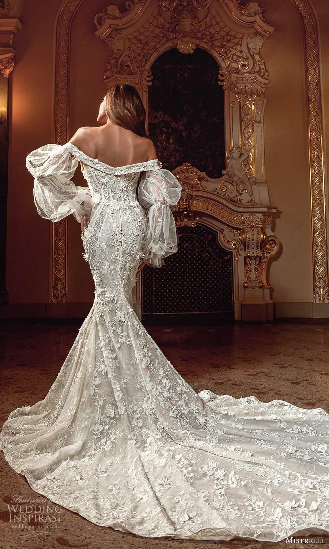 mistrelli 2021 innamorata bridal bishop sleeves off shoulder neckline fully embellished mermaid wedding dress chapel train (1) bv