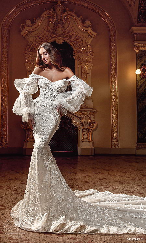 mistrelli 2021 innamorata bridal bishop sleeves off shoulder neckline fully embellished mermaid wedding dress chapel train (1) mv