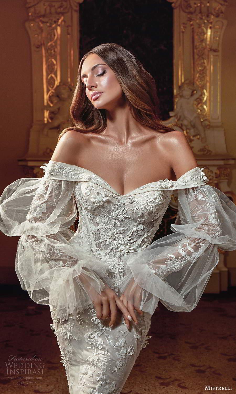 mistrelli 2021 innamorata bridal bishop sleeves off shoulder neckline fully embellished mermaid wedding dress chapel train (1) zv