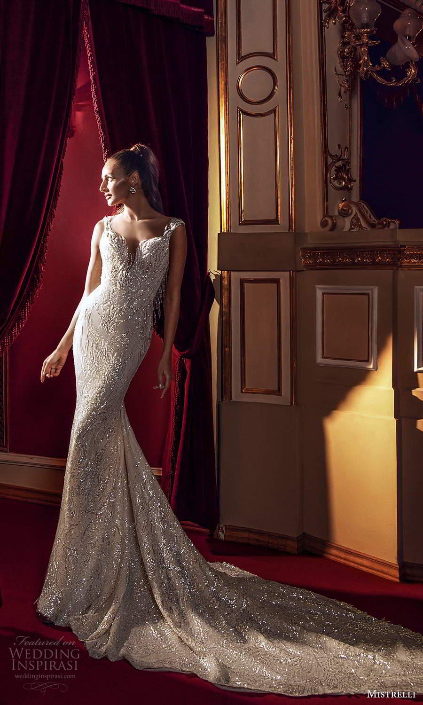 mistrelli 2021 innamorata bridal cap sleeves sweetheart neckline fully embellished sheath wedding dress chapel train (14) mv