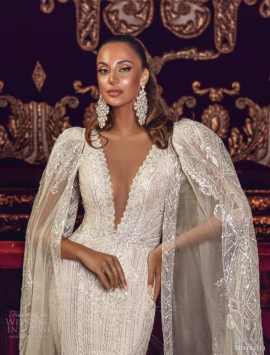 mistrelli 2021 innamorata bridal detachable split sleeves sleeveless straps plunging v neckline fully embellished fit flare mermaid wedding dress chapel train (3) zv