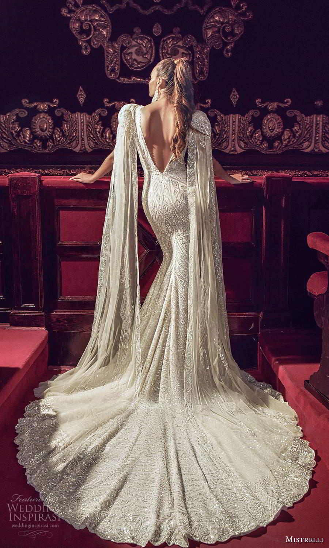mistrelli 2021 innamorata bridal detachable split sleeves sleeveless straps plunging v neckline fully embellished fit flare mermaid wedding dress chapel train v back (3) bv