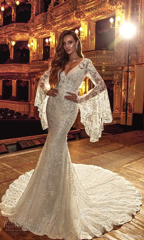 mistrelli 2021 innamorata bridal long flare sleeves v neckline fully embellished lace sheath wedding dress chapel train (14) mv