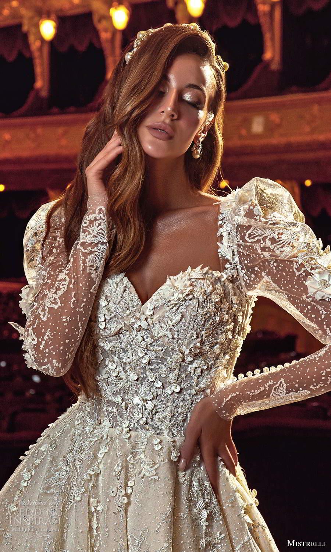 mistrelli 2021 innamorata bridal long puff sleeves plunging neckline fully embellished ball gown wedding dress (17) mv