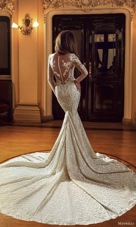 mistrelli 2021 innamorata bridal long sleeves plunging sweetheart neckline fully embellished fit flare mermaid wedding dress chapel train (10) bv