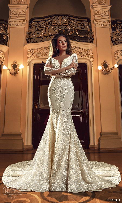 mistrelli 2021 innamorata bridal long sleeves plunging sweetheart neckline fully embellished fit flare mermaid wedding dress chapel train (10) mv
