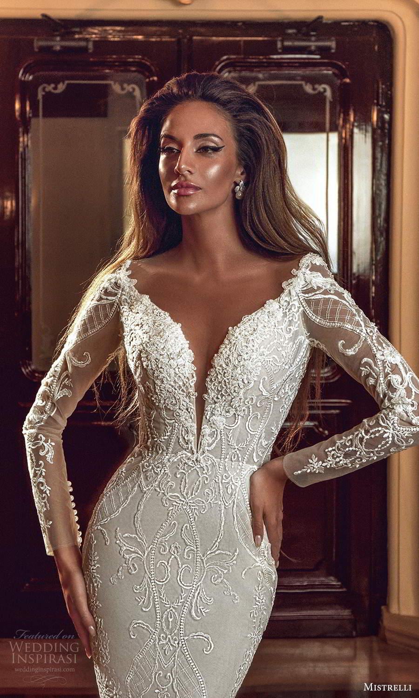mistrelli 2021 innamorata bridal long sleeves plunging sweetheart neckline fully embellished fit flare mermaid wedding dress chapel train (10) zv