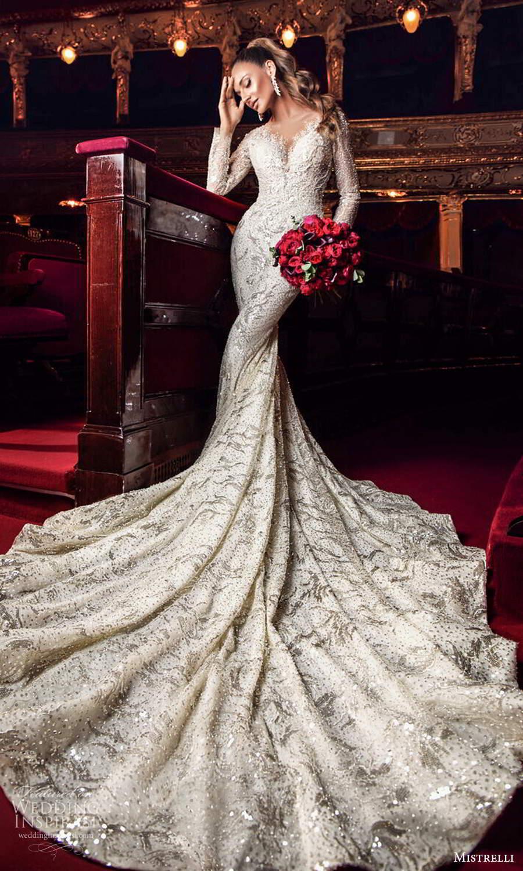 mistrelli 2021 innamorata bridal long sleeves v neckline fully embellished sheath wedding dress chapel train (3) fv