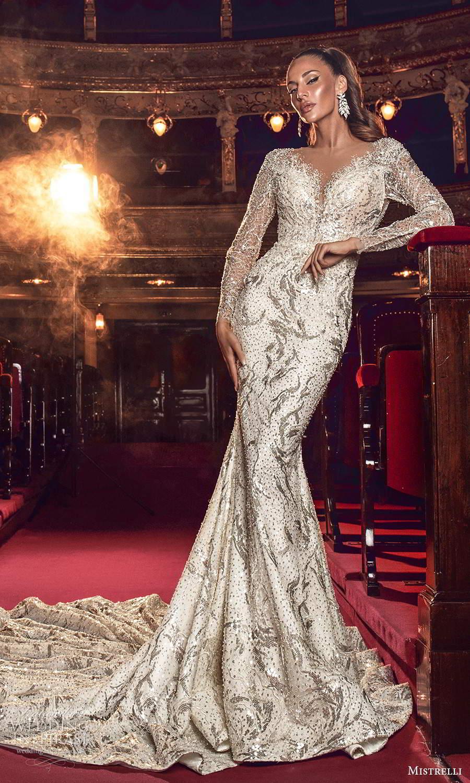 mistrelli 2021 innamorata bridal long sleeves v neckline fully embellished sheath wedding dress chapel train (3) mv