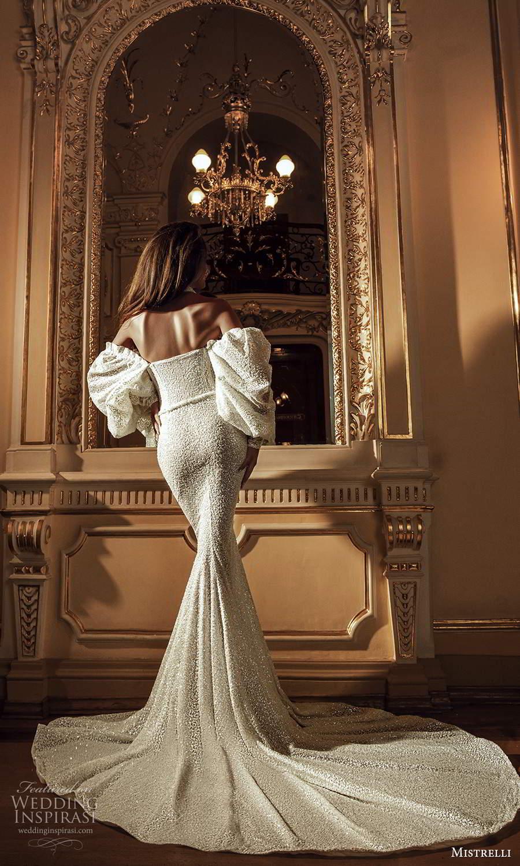 mistrelli 2021 innamorata bridal off shoulder bishop sleeves sweetheart neckline fully embellished sheath wedding dress chapel train (9) bv