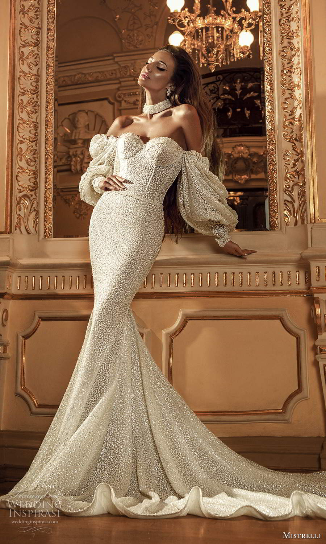 mistrelli 2021 innamorata bridal off shoulder bishop sleeves sweetheart neckline fully embellished sheath wedding dress chapel train (9) mv