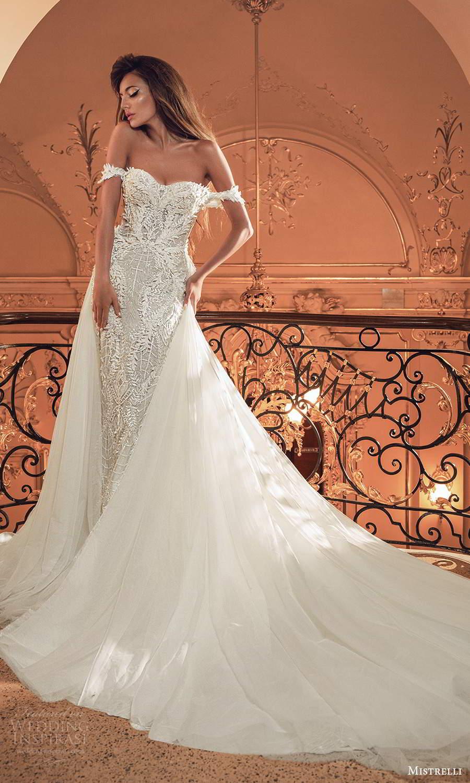 mistrelli 2021 innamorata bridal off shoulder straps semi sweetheart neckline fully embellished sheath wedding dress a line overskirt chapel train (2) mv