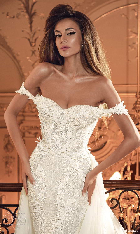 mistrelli 2021 innamorata bridal off shoulder straps semi sweetheart neckline fully embellished sheath wedding dress a line overskirt chapel train (2) zv