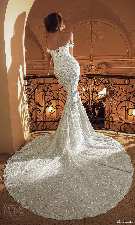 mistrelli 2021 innamorata bridal off shoulder straps semi sweetheart neckline fully embellished sheath wedding dress chapel train (2) bv
