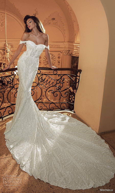 mistrelli 2021 innamorata bridal off shoulder straps semi sweetheart neckline fully embellished sheath wedding dress chapel train (2) mv